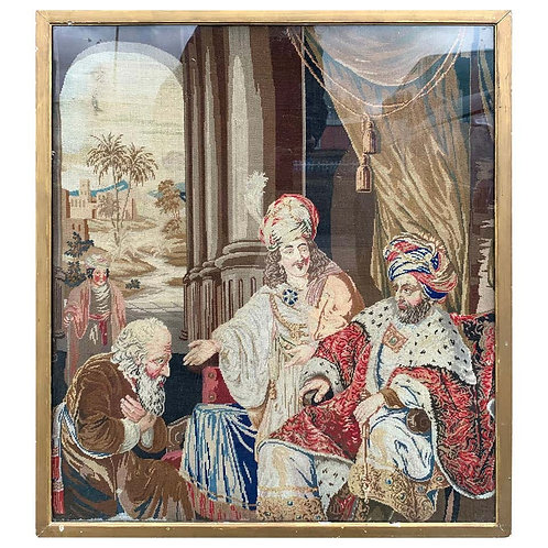19th Century Continental Tapestry Needlepoint Picture Of A Biblical Scene