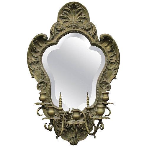 19th Century Heavy Gilt Brass Mirror with Five Branch Candelabra