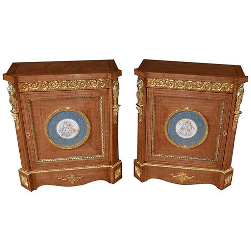 Pair of French Napoleon III, circa 1910 Satinwood Side Cabinets