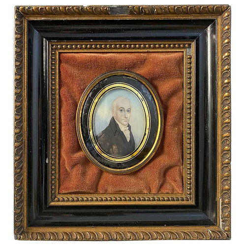 Wooden-Framed Painting of an English Gentleman, 18th Century