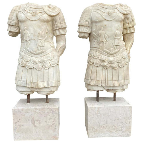 20th Century Pair of Roman Emperor's Torso's