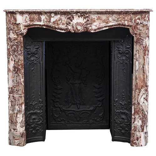18th Century Louis XV Parisian Marble Fireplace Mantelpiece and Interior