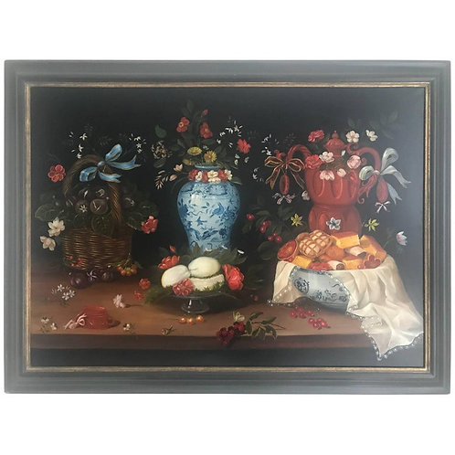 20th Century Still Life of Fruit Flowers and Pottery