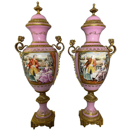 Pair of French Sèvres Marked Monumental Pink, 20th Century