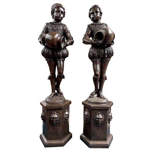 Pair of Extra Large Bronze Elizabethan Page Boy Fountains Statues, 20th Century