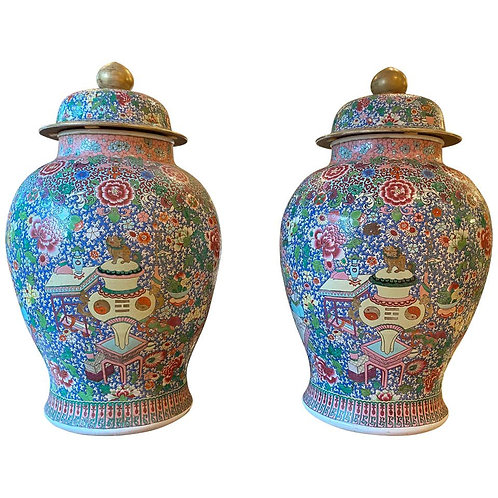 Large Pair of Samson Famille Rose Ginger Jars