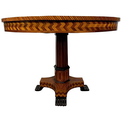 19th Century Walnut and Parquetry Inlaid William IV Style Centre Table