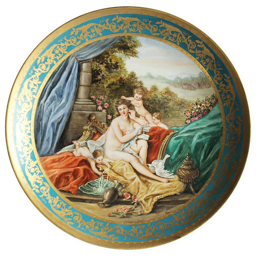 20th Century Large Vienna Charger, Porcelain Wall Plaque with Gilt Borders
