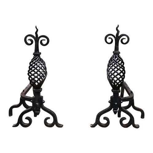 19th Century Handwrought Iron Gothic Fireplace Andirons Firedogs