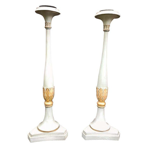 19th Century French Carved Wood Floor Standing Candlesticks