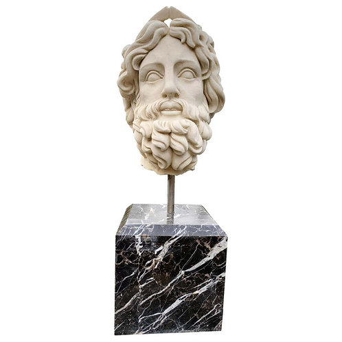 20th Century Marble Bust, Sculpture of the Roman God of The Water Neptune