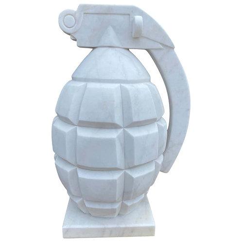 20th Century Hand Carved White Statutory Marble Hand Grenade
