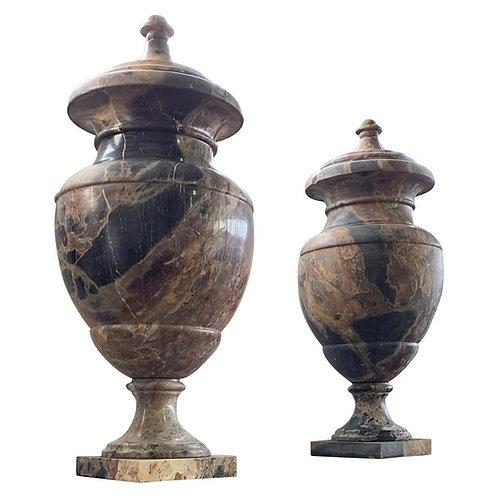 19th Century Italian Large Pair of Monumental Marble Urns