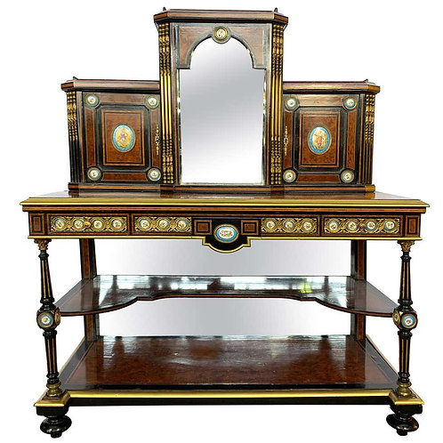 19th Century French Kingwood and Porcelain Mirrored Cabinet on Stand