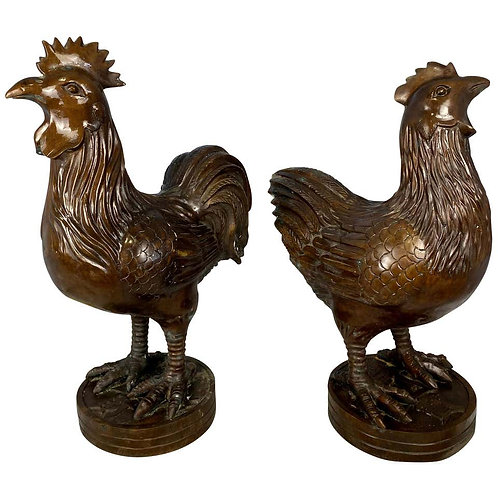Pair of Oriental Bronze Hen and Cockerel, 20th Century