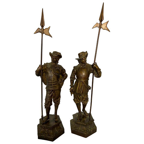 Pair of Bronze Cavalier Statues, 19th Century