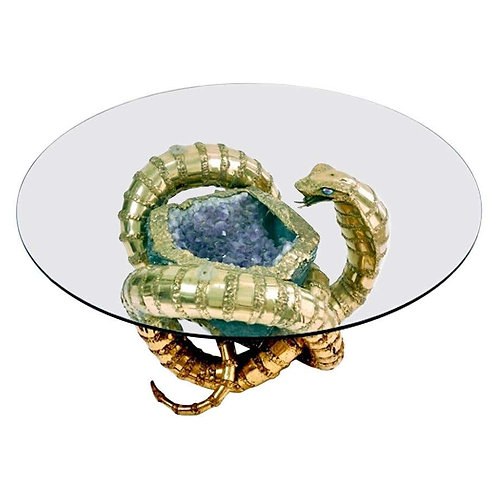 Late 20th Century Brass Cobra Snake Sculptural Coffee Table