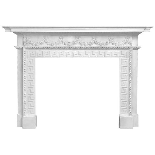 18th Century, White Hand Carved Statutory Palladium Fireplace