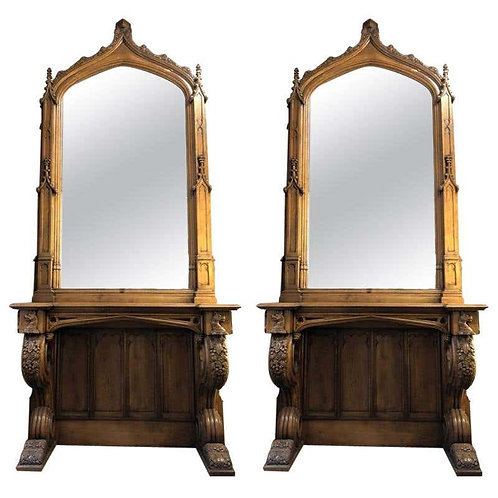 Pair of Antique Gothic Console Tables and Mirrors from Manchester Town Hall