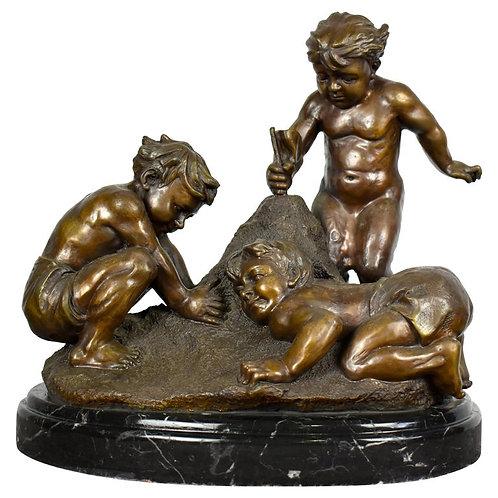 French Children Bronze