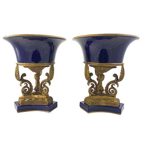 20th Century Pair of Ormolu Mounted French Empire Bleu De Roi Porcelain Urns