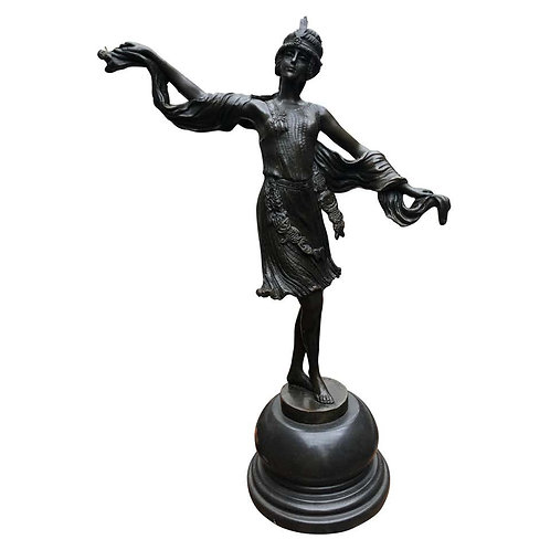 Art Deco Bronze Turkish Dancer Statue Signed Kernalan, 20th Century
