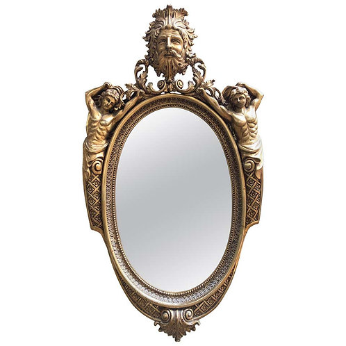French Oval Mirror Gilt, Carved Wood, 20th Century