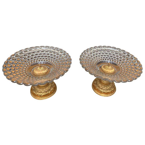 Pair of Bubble Glass Tazze, 20th Century