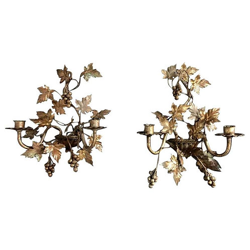 Early 20th Century French Gilt Grape Vine Wall Sconces