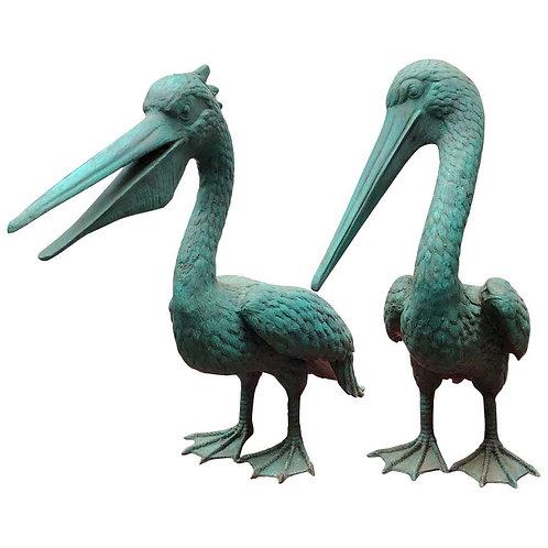 Pair of Bronze Pelican Birds Garden Statues Bird, 20th Century