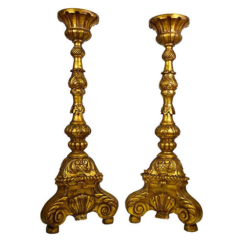 Large Pair of Continental Carved, Gilt Torchers 5 feet tall