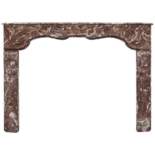 18th Century Louis XVI Hand Carved Rouge Marble Fireplace Surround