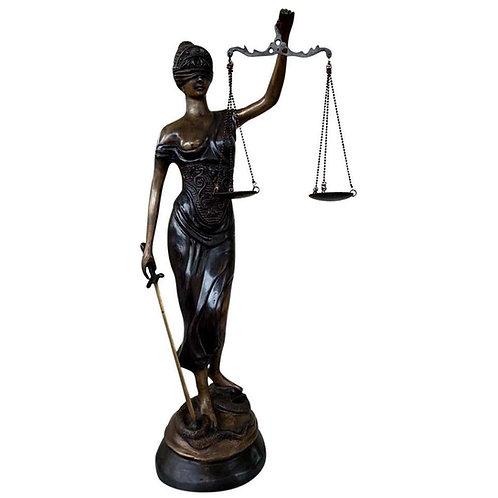 Bronze Lady Justice Statue Scales Legal Justitia Themis, 20th Century