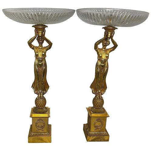 Golden Pair of Allegorical Tazzas, 20th Century