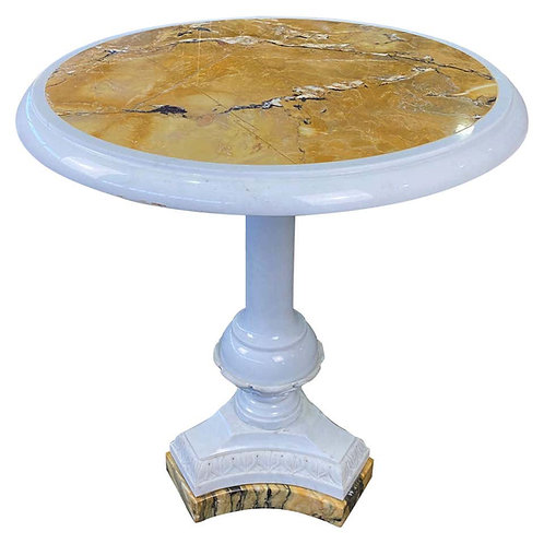 Italian White Statuary and Sienna Marble Table, 19th-20th Century