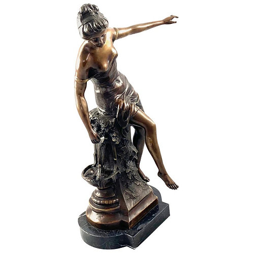 20th Century Bronze Figure of a Classical Maiden Astride a Fountain