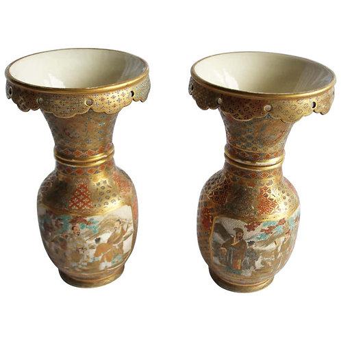 19th Century Ceramic Japanese Satsuma Vases, Meiji Period, Geometric Design
