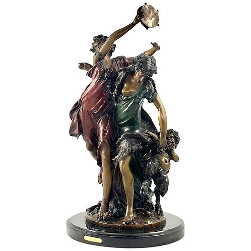 20th Century Large French Bronze Featuring Dancing Figures with Tambourine
