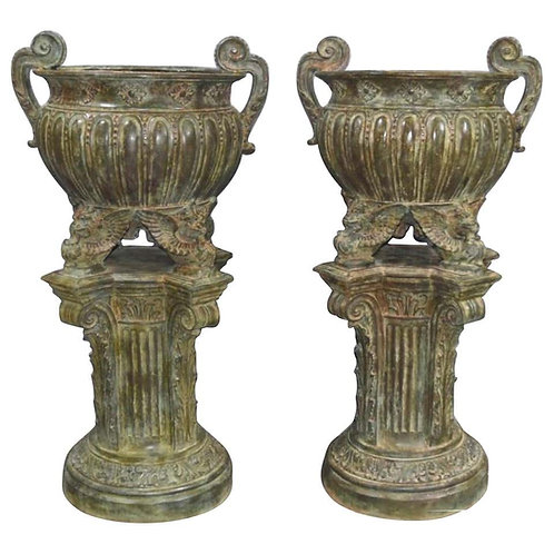 Pair of Bronze Garden Urns, French Architectural Empire Vases, 20th Century