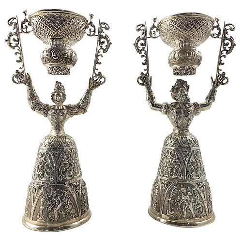 19th Century Pair of Silver Wager Cups