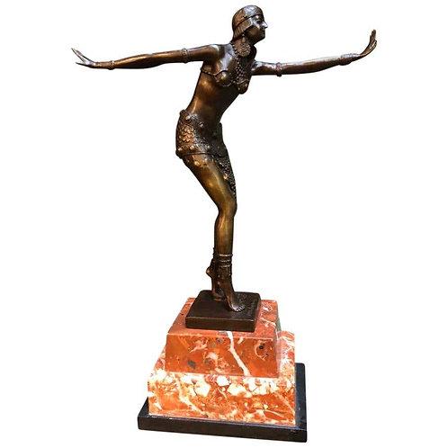 Art Deco Style Bronze Exotic Dancer, J.B Deposee, 20th Century