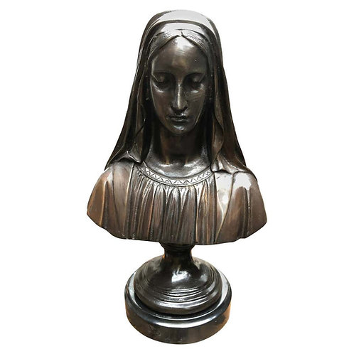 Bronze Virgin Mary Bust, French Holy Mother, 20th Century