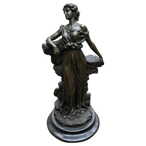 Classic Italian Bronze Maiden Statue Signed Preif Toga Figurine, 20th Century