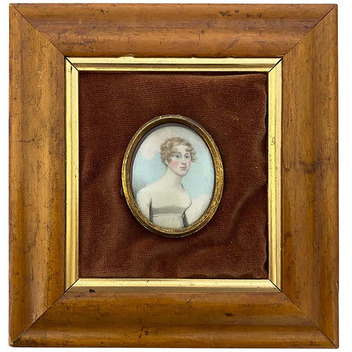 Wooden-Framed Picture of English Lady in White Frock, 19th Century