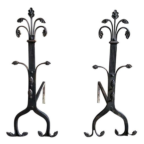 19th Century Hand Wrought Iron Gothic Fireplace Andirons Firedogs