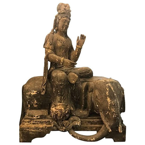 Early 19th Century Large Wooden Hindu Festival Icon of Indra