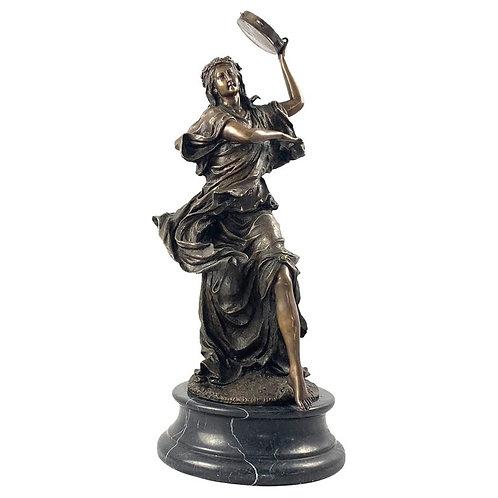 20th Century Bronze Figure of a Female Dancer with Tambourine