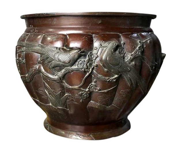 Large and Decorative Copper Firewood Bucket, 19th Century