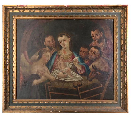 19th Century Italian Oil on Canvas of Jesus, Mary, Wise Men, Angel and Donkey