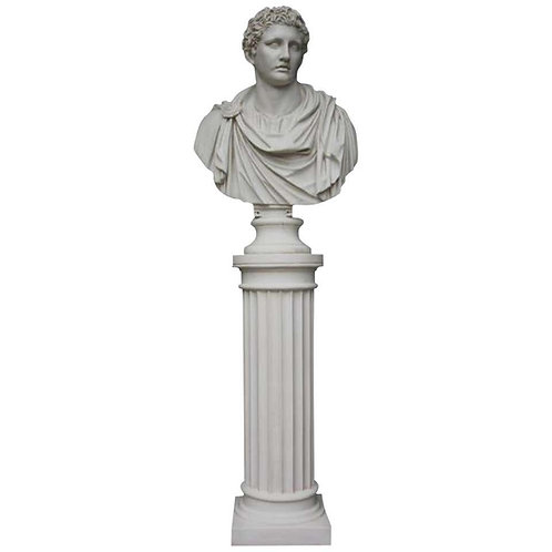 Mark Antony Bust Sculpture and Column, 20th Century